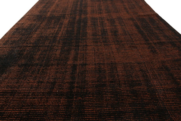 Indian Contemporary Loop and Pile Runner Orange-Brown Striped Rug by Rug & Kilim
