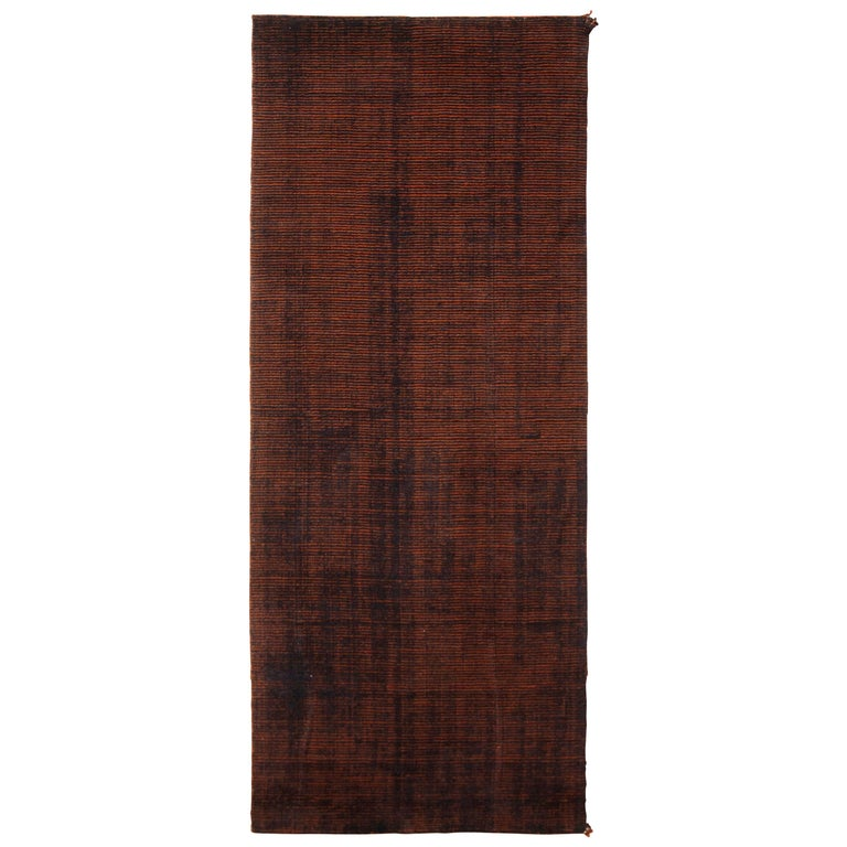 Contemporary Loop and Pile Runner Orange-Brown Striped Rug by Rug & Kilim