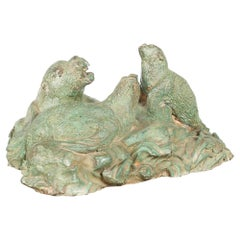 Contemporary Lost Wax Cast Bronze Sea Lion Sculpted Group with Verde Patina