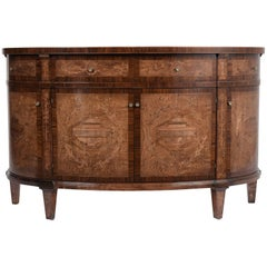 Contemporary Louis XVI-Style Demilune Inlaid and Marquetry Buffet