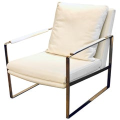 Contemporary Lounge Armchair in Leather and Brass-Plated Frame Steel