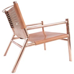 Contemporary Lounge Chair, Cerused White Oak, Nude Saddle Leather and Raw Copper
