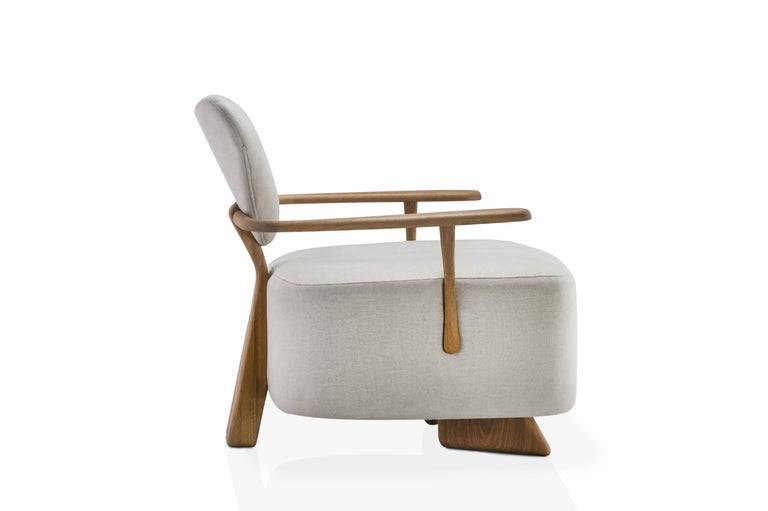 Modern Contemporary Lounge Chair in Solid Brazilian Walnut Wood by Juliana Vasconcellos For Sale