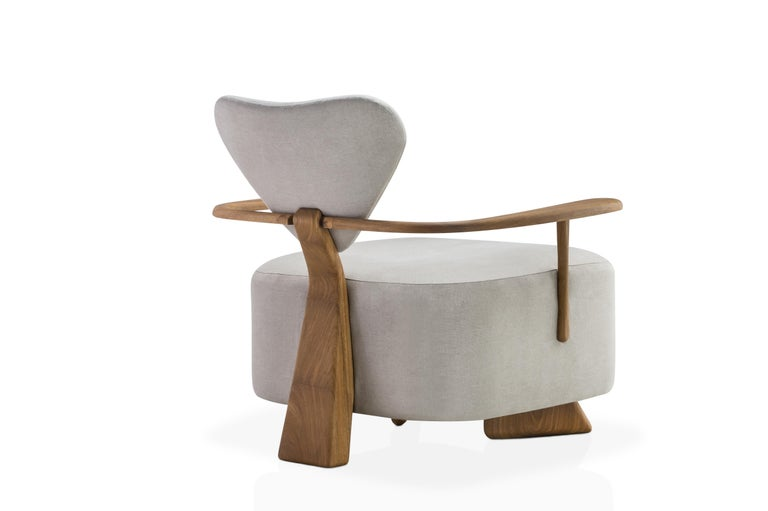 South American Contemporary Lounge Chair in Solid Brazilian Walnut Wood by Juliana Vasconcellos For Sale