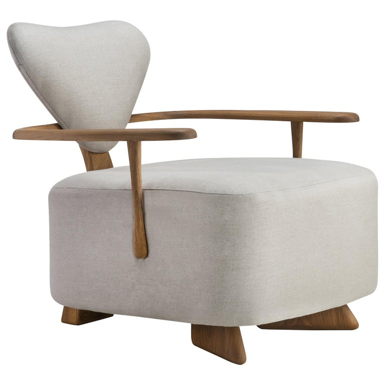Contemporary Lounge Chair in Solid Brazilian Walnut Wood by Juliana Vasconcellos For Sale