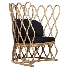 Contemporary Lounge Chair, Natural Rattan/Leather