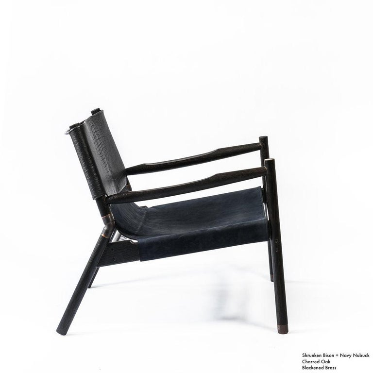Contemporary Lounge Chair - Teak, Saddle Leather, Raw Copper and Leather Cord For Sale 4