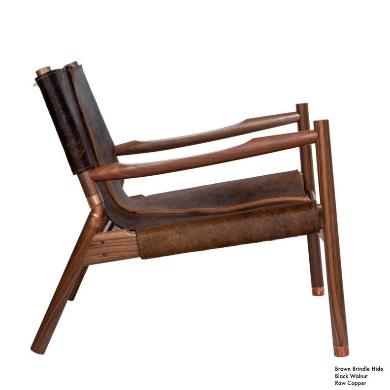 Contemporary Lounge Chair - Teak, Saddle Leather, Raw Copper and Leather Cord For Sale 5