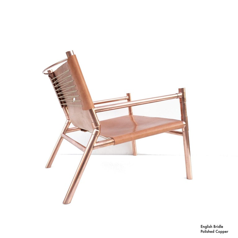 Contemporary Lounge Chair - Teak, Saddle Leather, Raw Copper and Leather Cord For Sale 6