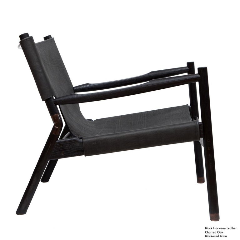 Contemporary Lounge Chair - Teak, Saddle Leather, Raw Copper and Leather Cord For Sale 7