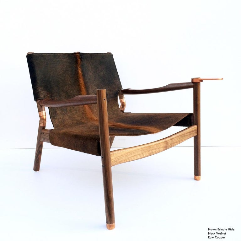 Contemporary Lounge Chair - Teak, Saddle Leather, Raw Copper and Leather Cord For Sale 9