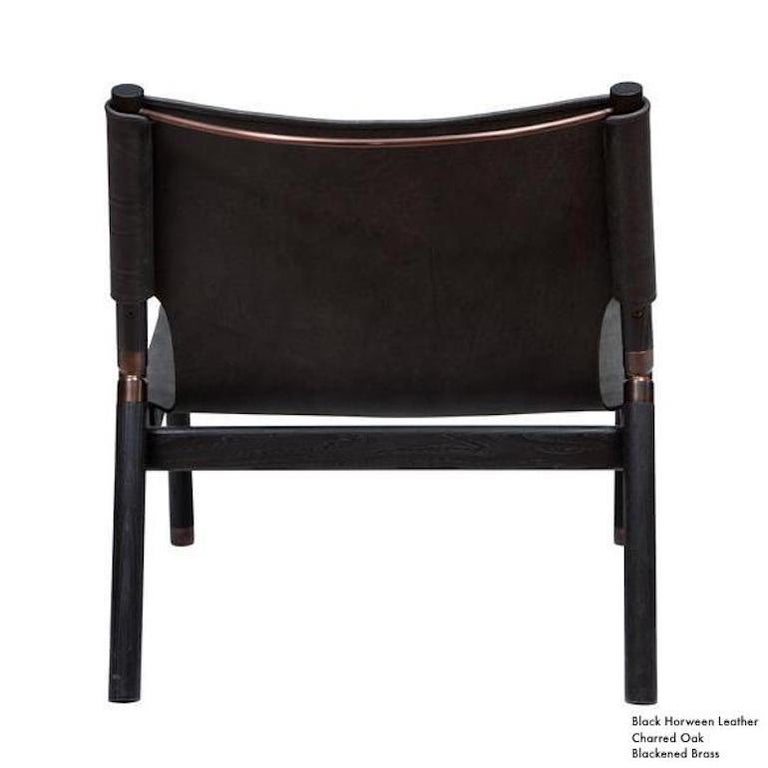 Contemporary Lounge Chair - Teak, Saddle Leather, Raw Copper and Leather Cord For Sale 11