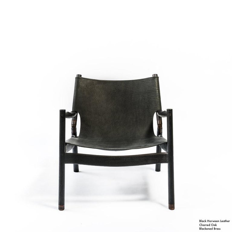 Contemporary Lounge Chair - Teak, Saddle Leather, Raw Copper and Leather Cord For Sale 12