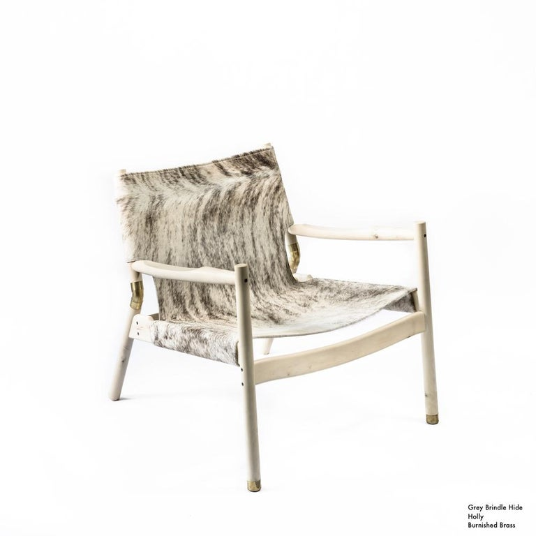Contemporary Lounge Chair - Teak, Saddle Leather, Raw Copper and Leather Cord For Sale 13
