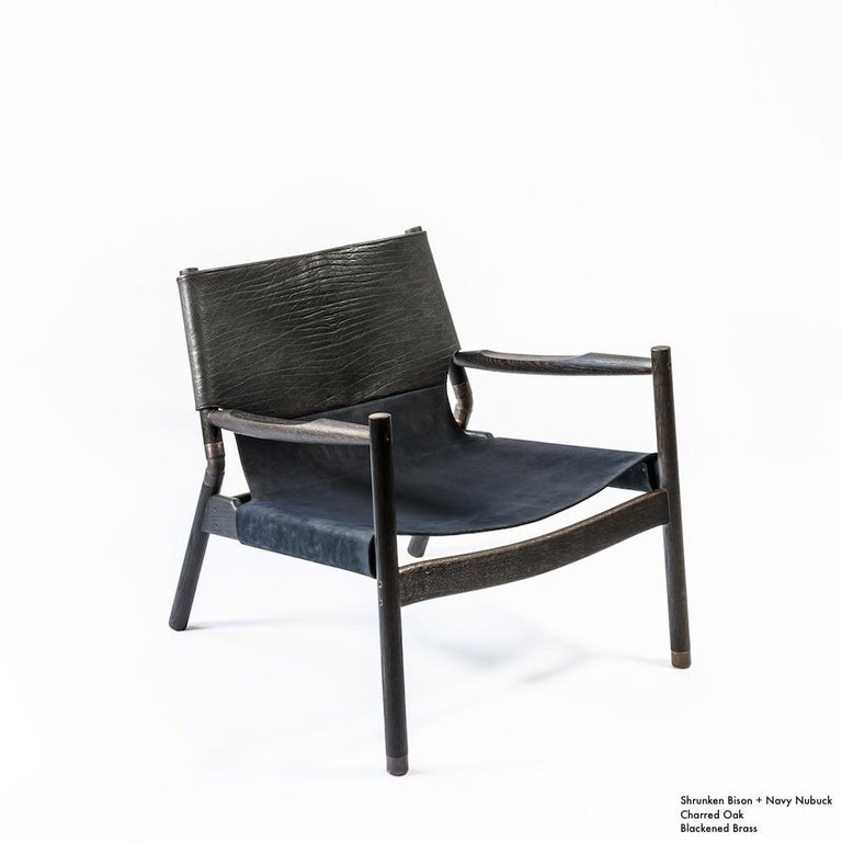 Contemporary Lounge Chair - Teak, Saddle Leather, Raw Copper and Leather Cord For Sale 14