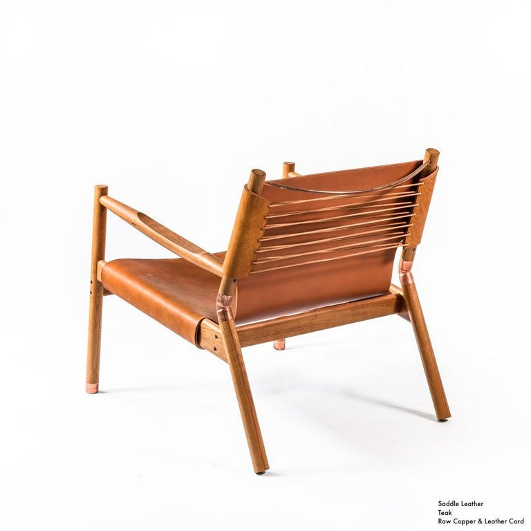 Organic Modern Contemporary Lounge Chair - Teak, Saddle Leather, Raw Copper and Leather Cord For Sale