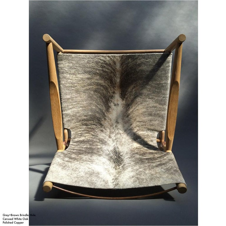 Cerused Contemporary Lounge Chair - Teak, Saddle Leather, Raw Copper and Leather Cord For Sale