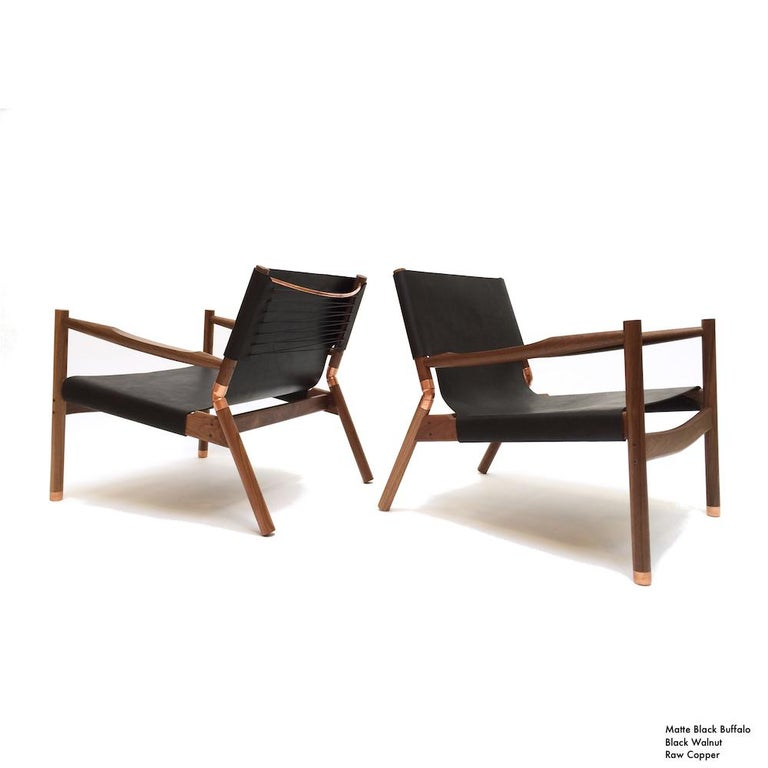 Contemporary Lounge Chair - Teak, Saddle Leather, Raw Copper and Leather Cord For Sale 2