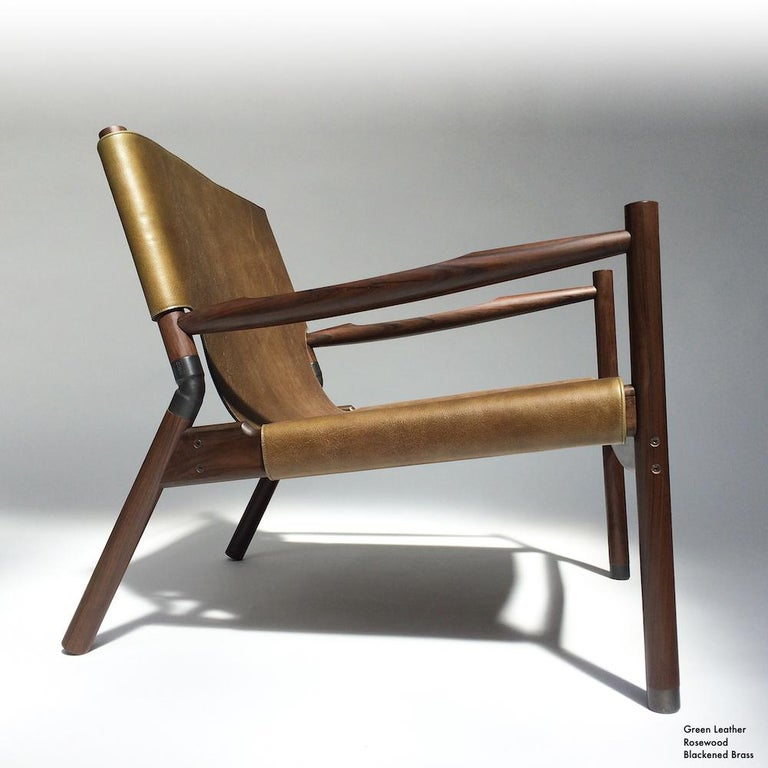 Contemporary Lounge Chair - Teak, Saddle Leather, Raw Copper and Leather Cord For Sale 3