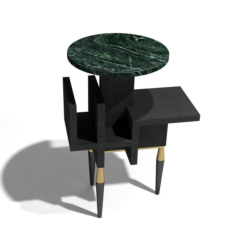 This lounge table has been created through detailed handcrafting with using of different high-quality materials stone, wood, brass. 