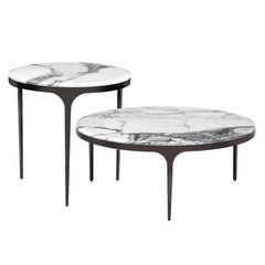 Contemporary Low Marble Table Set in Different Heights