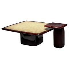 Contemporary Low Nesting Tables, High Gloss Mahogany/Natural Cane