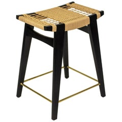 Contemporary Low-pi Bar Stool, Oak with Danish Cord Seat & Brass Foot Rails