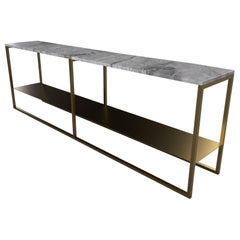 Contemporary Low Slim Console in Marble and Brass Tint