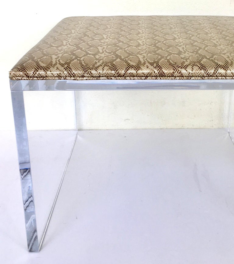 Contemporary Lucite Upholstered Bench & Table For Sale 1