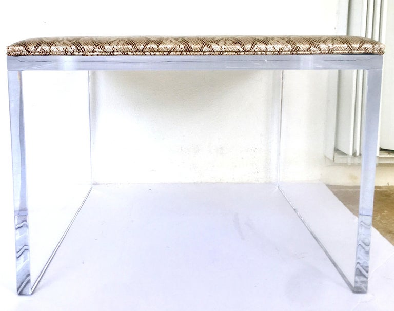 American Contemporary Lucite Upholstered Bench & Table For Sale