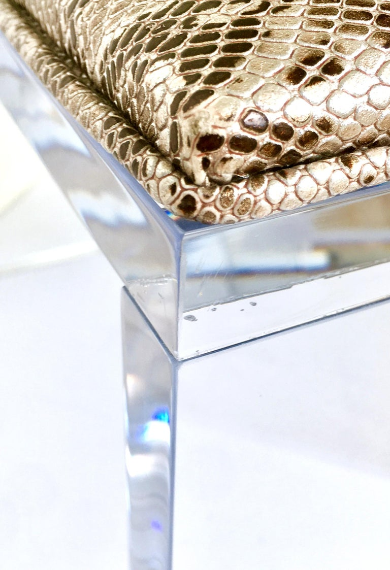 Contemporary Lucite Upholstered Bench & Table For Sale 2