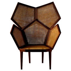 Contemporary Lui 5/A Handwoven Caned Armchair By Philippe Bestenheider Mahogany