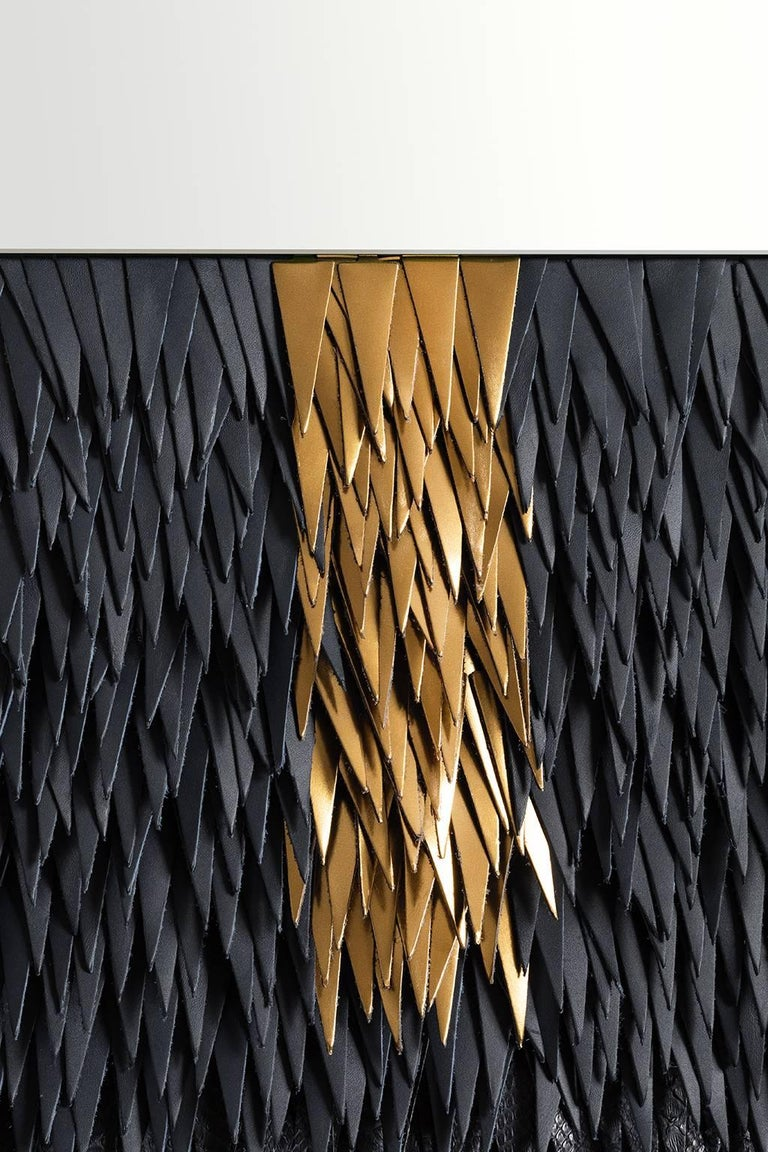 Other Contemporary Luxury Mirror in Brass and Leather by Savvas Laz For Sale