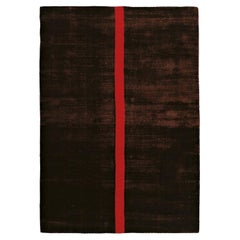 Contemporary Luxury Shiny Brown Red Rug by Deanna Comellini