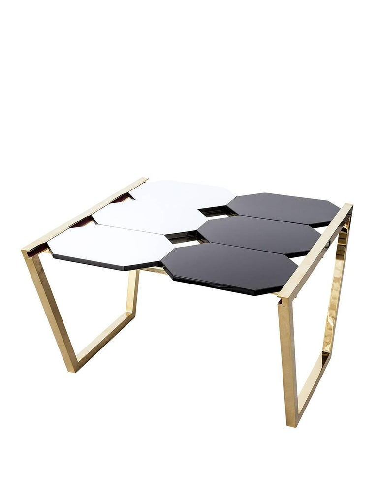 Modern Contemporary m2kr Chess Low Table in Wood and Brass, Italy, 2017 For Sale