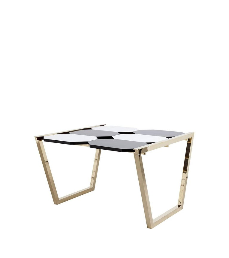 Italian Contemporary m2kr Chess Low Table in Wood and Brass, Italy, 2017 For Sale