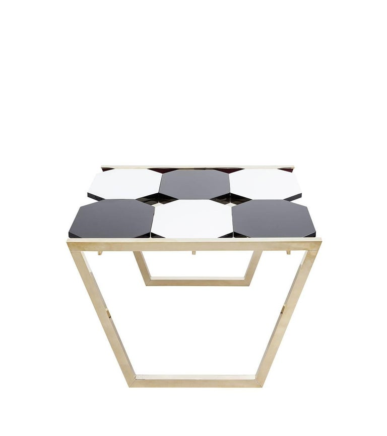 Lacquered Contemporary m2kr Chess Low Table in Wood and Brass, Italy, 2017 For Sale