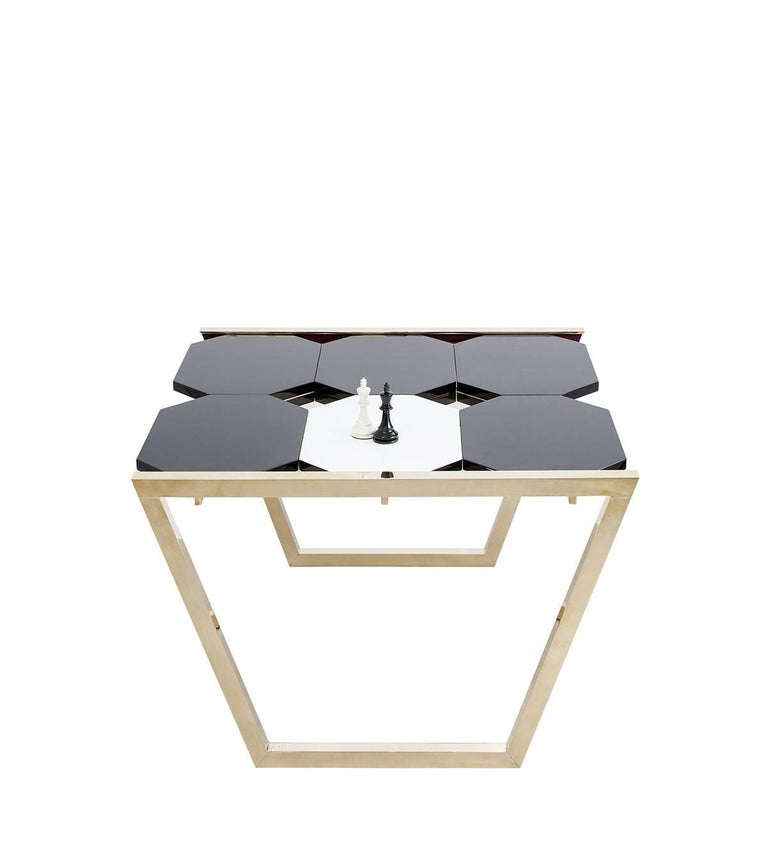 Contemporary m2kr Chess Low Table in Wood and Brass, Italy, 2017 In New Condition For Sale In Milan, IT