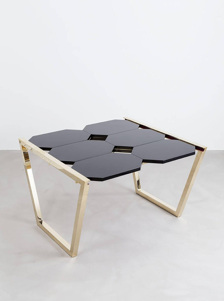 Contemporary m2kr Chess Low Table in Wood and Brass, Italy, 2017 For Sale 2