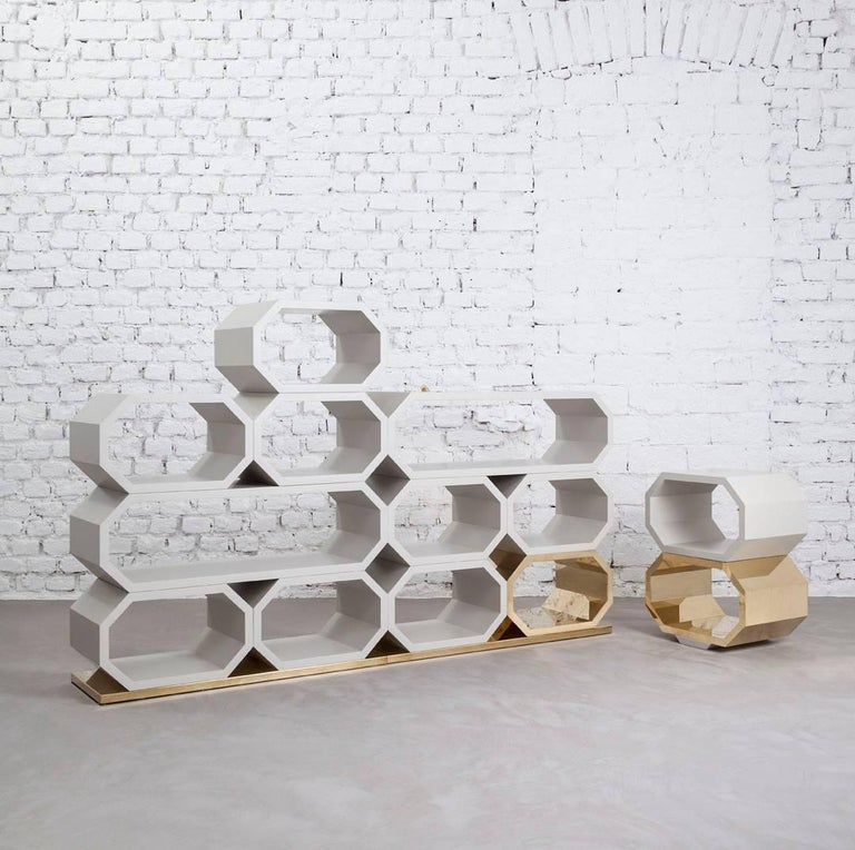 Lacquered Contemporary m2kr MIMI Modular Shelf in Wood and Brass, Italy, 2017 For Sale