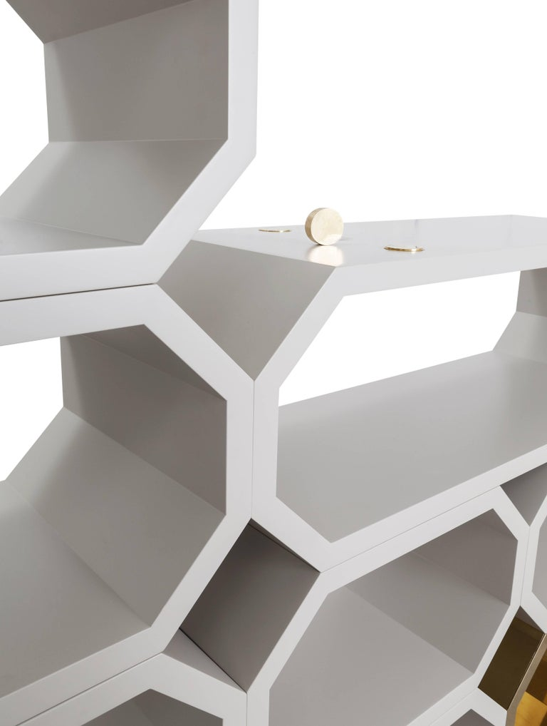 Contemporary m2kr MIMI Modular Shelf in Wood and Brass, Italy, 2017 In New Condition For Sale In Milan, IT