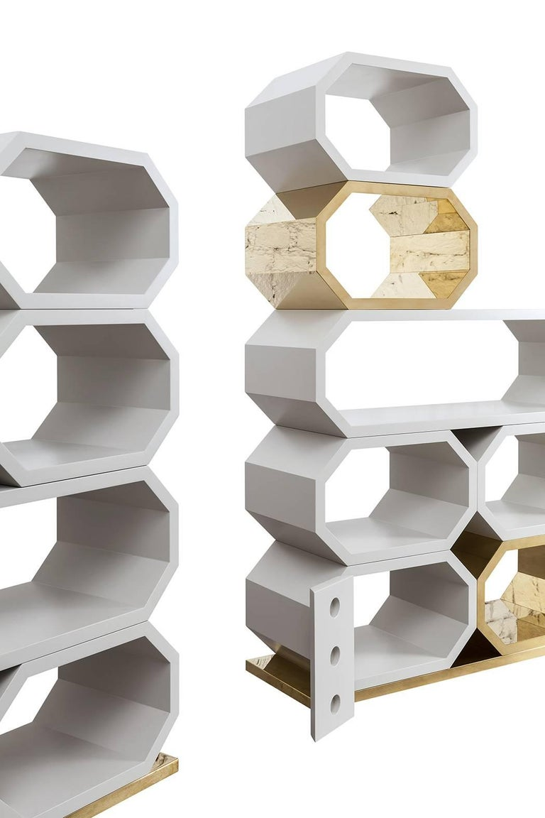 Contemporary m2kr MIMI Modular Shelf in Wood and Brass, Italy, 2017 For Sale 1
