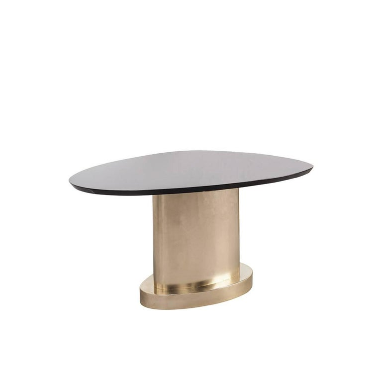 Italian Contemporary m2kr Twin 2 Low Table in Wood and Steel Galvanized with Gold, 2017 For Sale