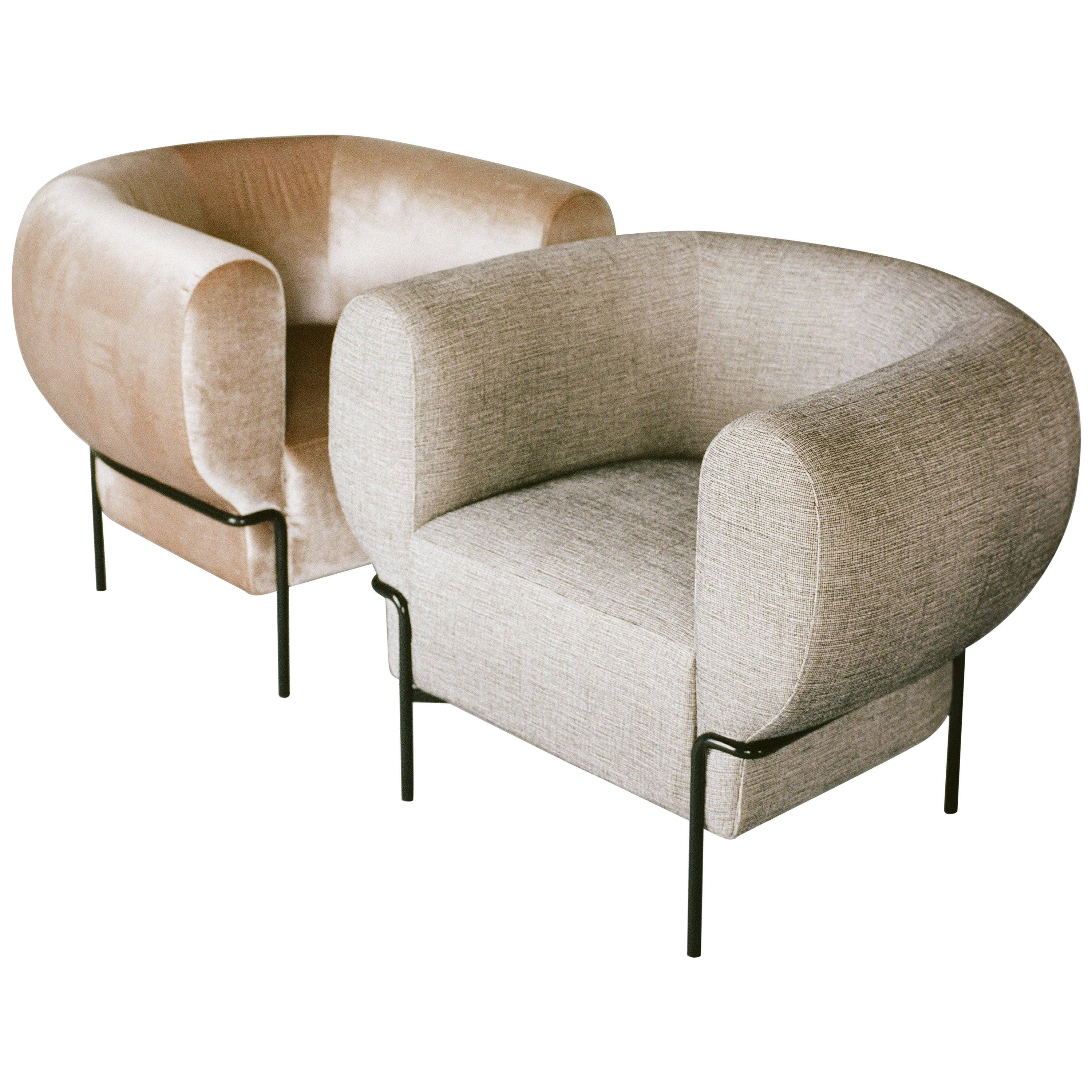 Contemporary Madda Lounge Chair in Velvet