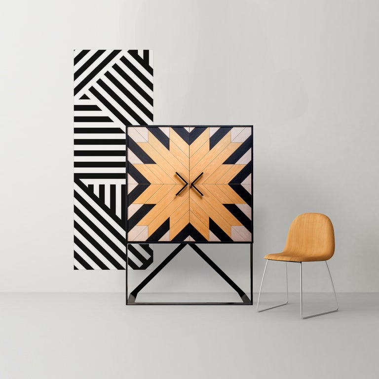 Cabinet designed by Larissa Batista  Contemporary Mahana Cabinet in Black, White and Natural Oak by Larissa Batista Created by international designer Larissa Batista and handcrafted in Brazil, this contemporary piece is a home decor must-have.