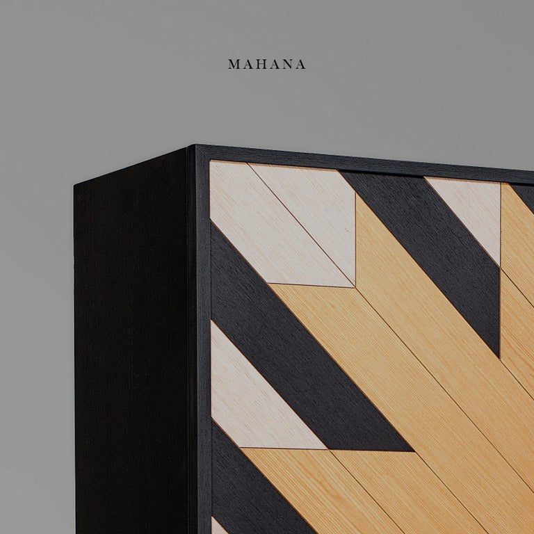 Modern Contemporary Mahana Cabinet in Black, White and Natural Oak by Larissa Batista For Sale