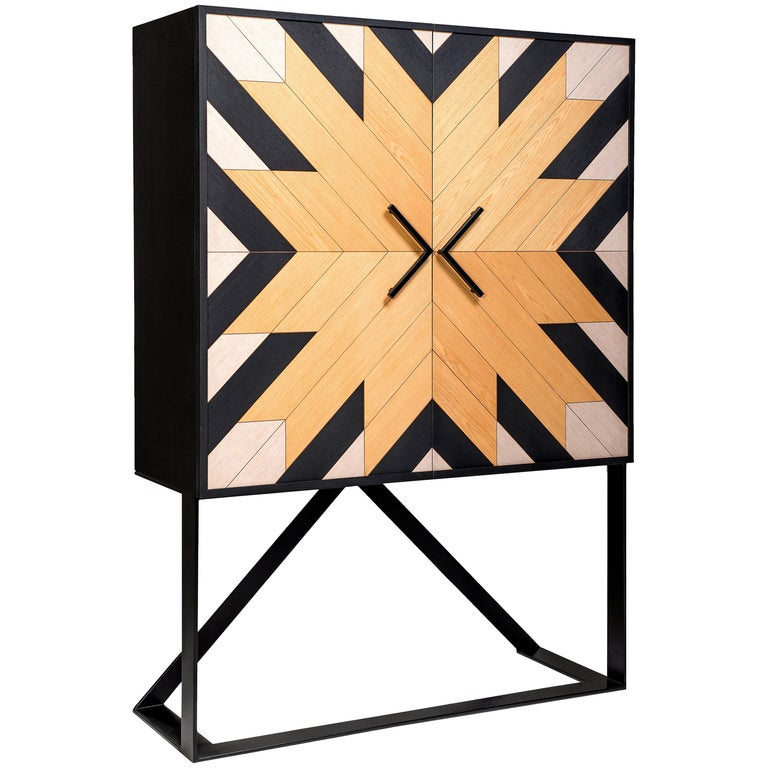 Contemporary Mahana Cabinet in Black, White and Natural Oak by Larissa Batista For Sale