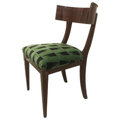 Contemporary Mahogany Klismos Dining Chair with Green Upholstery
