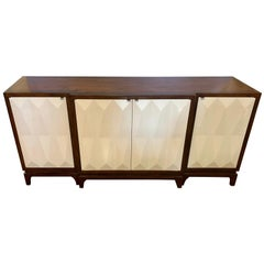 Contemporary Mahogany Server with Sculpted Doors Buffet Sideboard Credenza Bar
