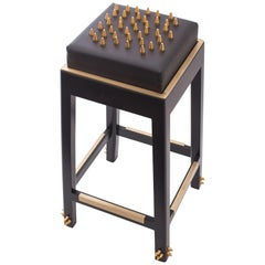 Contemporary Malicious Bar Stool with Polished Brass Studs and Black Leather